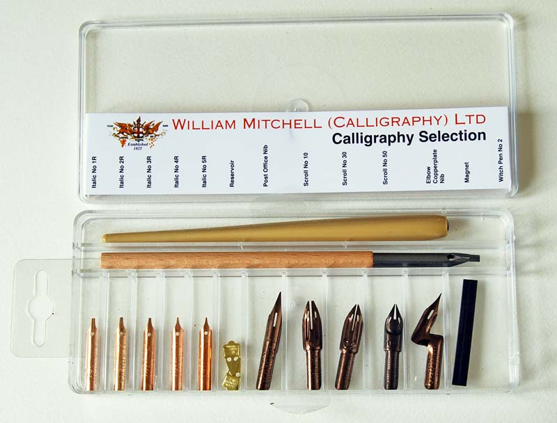 William Mitchell Calligraphy ROUND HAND DIP PENS square cut//oblique nib gift set
